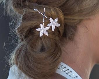Rhinestone Starfish Bobby Pins, Beach Wedding, Bridal Hair Accessory, Hair Clips, Destination Wedding, Starfish Hair Pins, Bridesmaid Gift