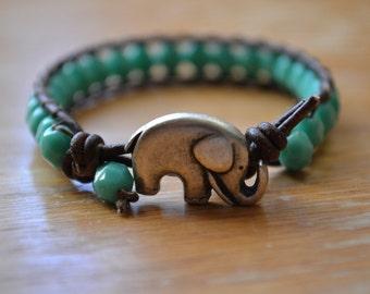 Boho Elephant - Single Wrap Brown Leather Bracelet