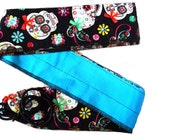 wrist wraps for weight lifting, Wods Sugar Skulls  Reverable Turquoise 1 pair