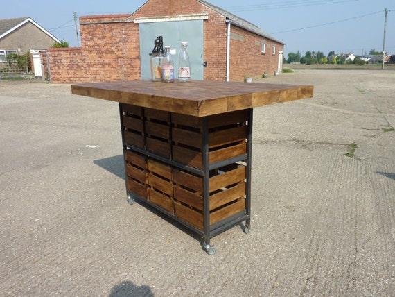 Table industrielle rustique pin cuisine le petit d jeuner bar - Table haute cuisine avec rangement ...