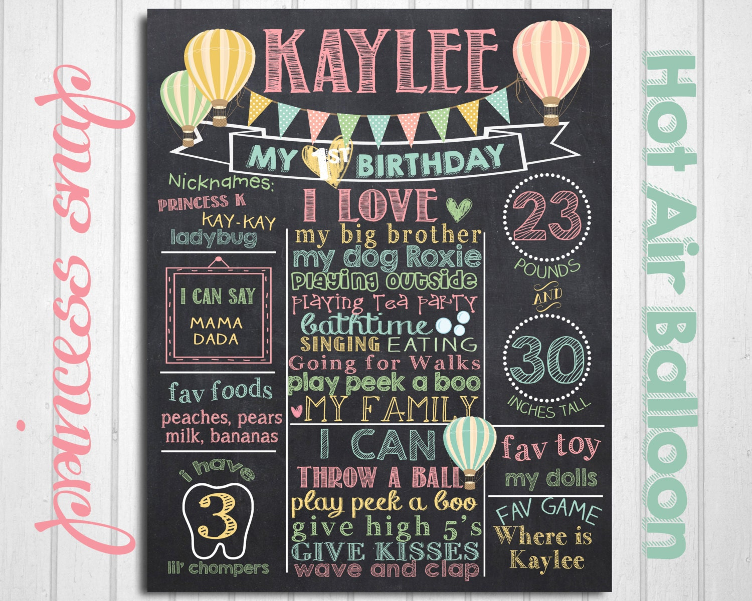 Hot Air Balloon First Birthday Chalkboard Poster Balloon