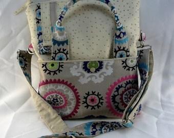 "Ecru ostrich leatherette handbag with removable shoulder  ""Boukhara"""