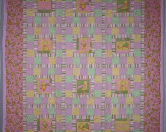 Super Ducks Baby Quilt, pink, green and yellow