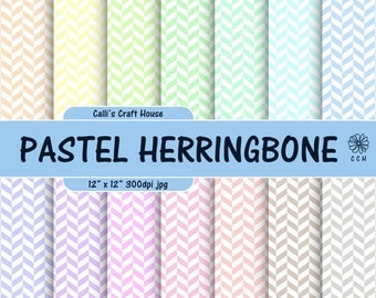 Pastel Herringbone Digital Papers - Herringbone background - 14 soft pastel backgrounds - pastel & white - Commercial Use - Instant Download