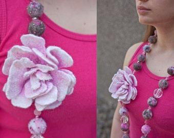 Felt Necklace, Felt brooch, Dog Wool Beads, Felt Jewelry, Felt beads, Pink beads, Grey beads, White.