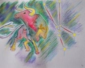 Taurus  Zodiac Sign, April 21-May 20, original illustration, watercolour & soft pastel, approx 8x11 inches