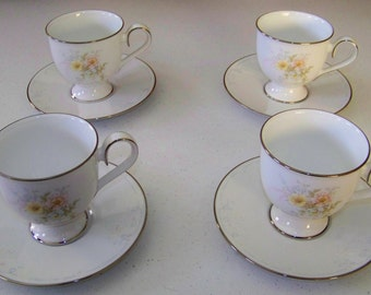 Noritake Anticipation Set Of Four Footed Cup & Saucer Sets