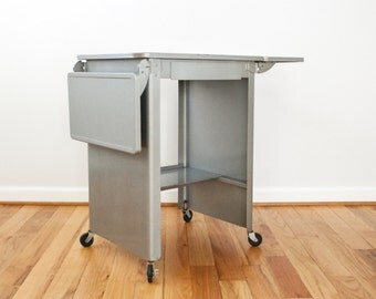 Metal Typewriter Table, Industrial Table, Metal Table, Rolling Typewriter  Table With Side Panels