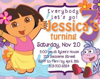 Dora Pool Party Birthday Invite, 5x7 DIY digital file