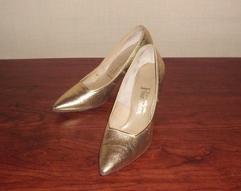 Spike Heels Gold Leather Shoes Vintage 50s Rock-a-Billy Matellic Pointed 5 1/2