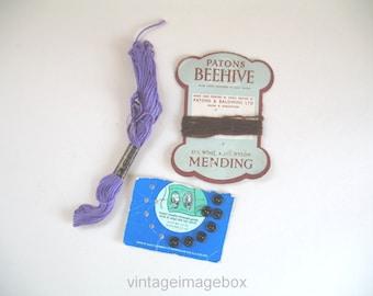 Vintage sewing accessories, Patons Beehive Clark's Anchor Newey Goodman, needlework notions
