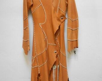 vintage 70s whip leather coat jacket hippie north beach