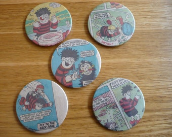 5  Handmade Beano Pin Back Button Badges 5.8cm