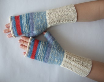 Handmade CREAM, BLUE, RED ( multicolor ) fingerless gloves, wrist warmers, fingerless mittens. Knitted of wool and polyamide.