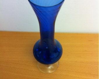 Small Cobalt Blue Glass Vase for Flowers