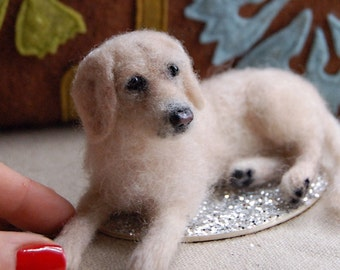 Custom Miniature Needle Felted Dog - Pet Portrait Sculpture