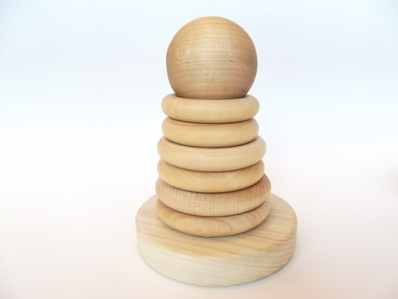 Organic Wooden Stacking Rings Baby Teething Toy