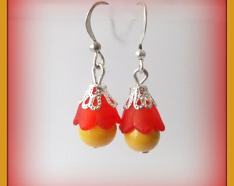 red yellow flowery earrings