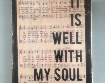 It Is Well With My Soul woodblock with sheet of music in background