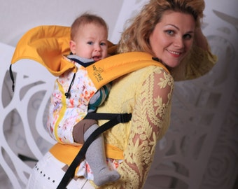 Buckle Baby Carrier / Sling / Soft structured/ by Bagy™  Yellow Watercolor Ergo Carrier
