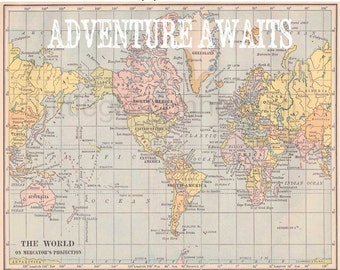 Adventure awaits map travel quote world map watercolor map adventure awaits map print nursery world map vintage map poster canvas quote map gumiabroncs Images