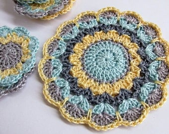 Crocheted flower motif, mandala applique in gray, blue, yellow  3,5 inches wide