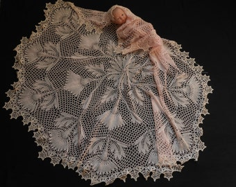 Hand Knitted Lace Christening / Wedding Shawl in Pure Merino. MADE TO ORDER