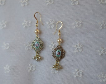 Delicate Vintage Guilloche Enamel Earrings with  Drop Glass Pearls - Gold Tone Filigree