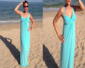 Blue green turquoise  Halter long maxi dress sun evening all size