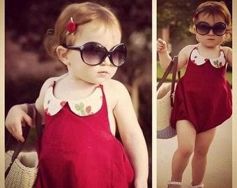 12m Red strawberry Sun Suit ready to ship
