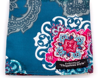 Blue Paisley Silk Pocket Squares