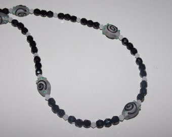 White and Black Swirl Lampwork and Black Czech Glass Necklace