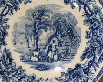 Booths British Scenery Blue And White Transfer Silicon China Plate, England