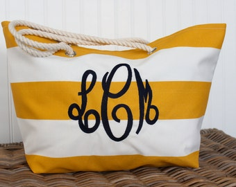 Personalized Beach Bag - Large Tote Bag - Bridesmaid Gift  - Monogram Gift - Pool Bag  - Teacher Bag - Wedding Party Gift