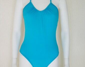 BLUE One Piece SWIMSUIT / 90s minimalist swimsuit