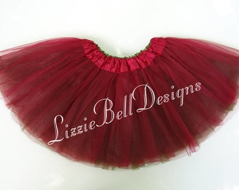 BURGUNDY / OLIVE Reversible Ballet Tutu Two Tone Skirt  / Child Toddler Costume Photo Prop Soft Tulle