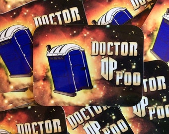 Dr. Poo - by Decaffeinated Designs 3x4 inch vinyl sticker