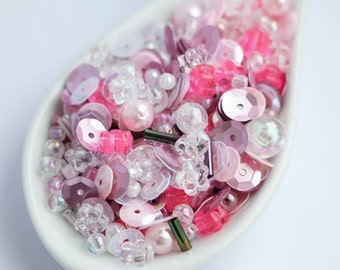 Sequins Plastic Beads Mix Rose White Pink Bag 20g