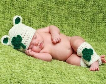 St Patty Shamrock Teddy Bear Hat  with matching legwarmers Boy or Girl, SiZES Preemie Newborn 0-3month,3-6 month,6-12 month,leprechaun Hat