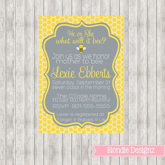 5x7 what will it bee baby shower invitation by blondiedesignz