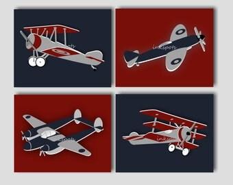 Airplane Nursery Bedding Decor Airplane Nursery Art Vintage Airplane Prints Boys Room Transportation Nursery Decor Choose Colors AP1916