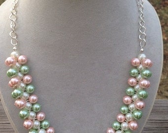 Pearl necklace, Spring Cluster Necklace, Pink and Green necklace, pink necklace, bauble necklace, Apple Blossom Necklace, bridesmaid gift