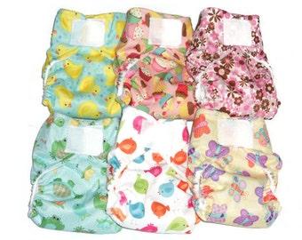 Set of 6 pcs Cloth Diaper Pocket with 6 pcs Hemp Cotton Fleece & Zorb insert