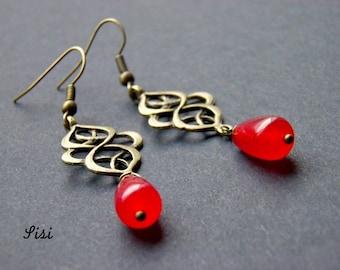 Filigree earrings red pearl