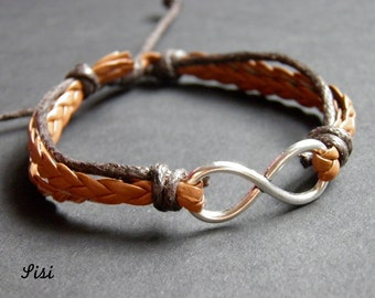 Bracelet infinite dark and light brown cord