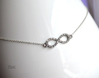 Infinity necklace shiny silver metal pad