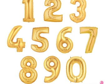 Gold Number Balloons - 16 inch Foil Mylar Balloons | Graduation, Birthday Party, Sweet 16, Bat / Bar Mitzvah