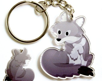 Cute Wolf Keychain, Cute Wolf Phone Charm, Gray Fox, Wolves, animal charm, kawaii animal, lariat