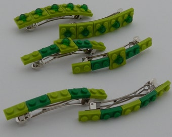 Green hair barrette made with  LEGO® elements