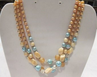 Blue and Ivory Pearl Necklace - Costume Jewelry - Vintage Pearls - Faux Pearl Necklace - Multi-Strand Pearls - Multi-Strand Necklace Sale